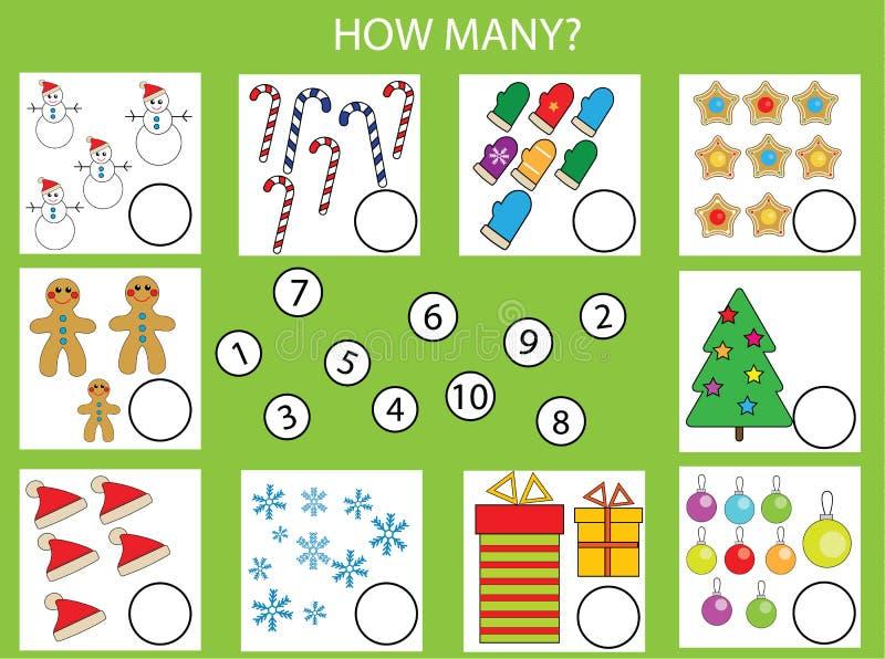 计数教育儿童比赛,孩子活动活页练习题 多少个对象分配,圣诞节题材 向量例证