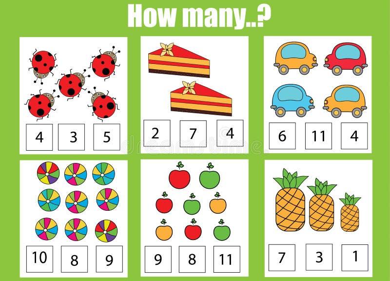 计数教育儿童比赛,孩子活动活页练习题 多少个对象分配 库存例证