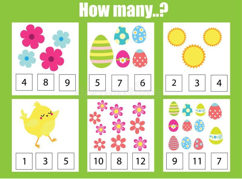 计数教育儿童比赛,算术哄骗活动 多少个对象分配 盘旋您色的复活节彩蛋eps10空间文本主题的向量 加法活页练习题 皇族释放例证
