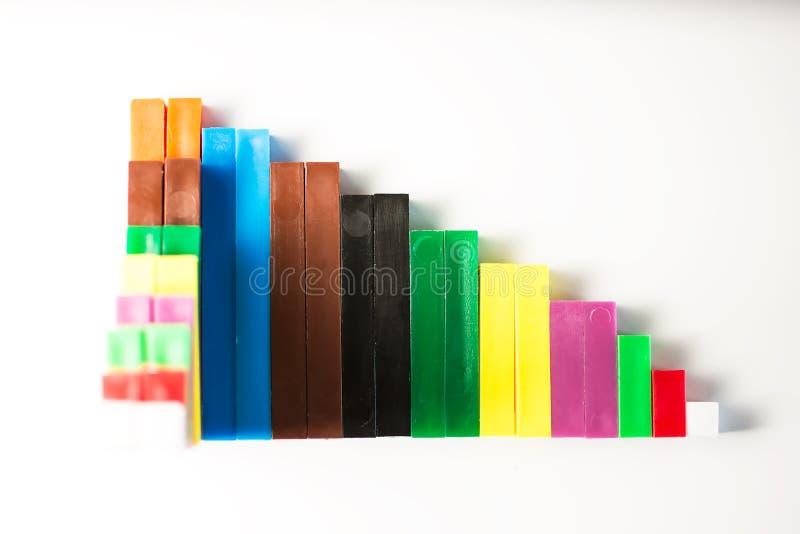 计数棍子被定购形成一张下降的长条图 库存照片