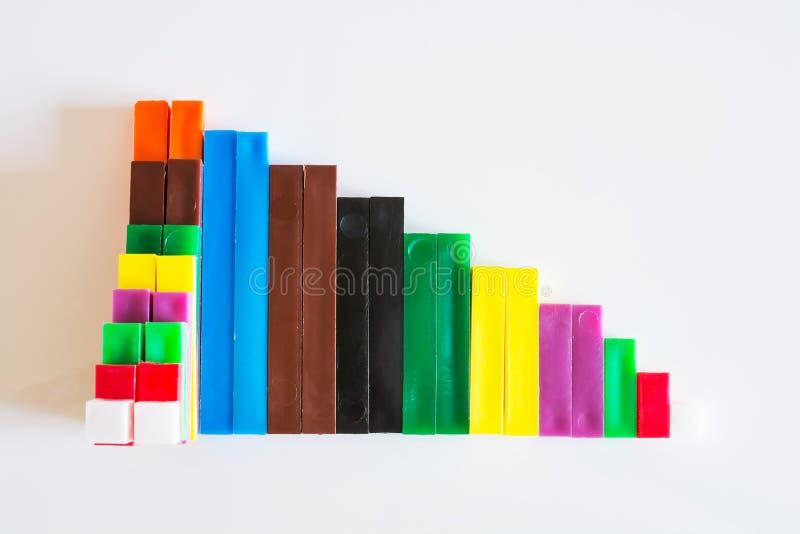 计数棍子被定购形成一张下降的长条图 免版税库存照片