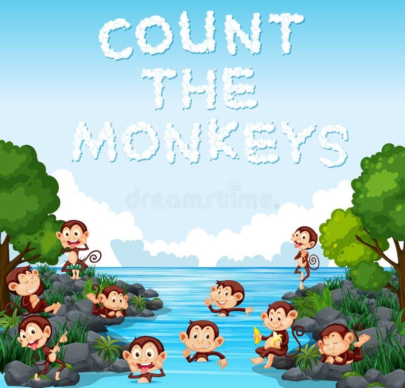 计数猴子模板 库存例证