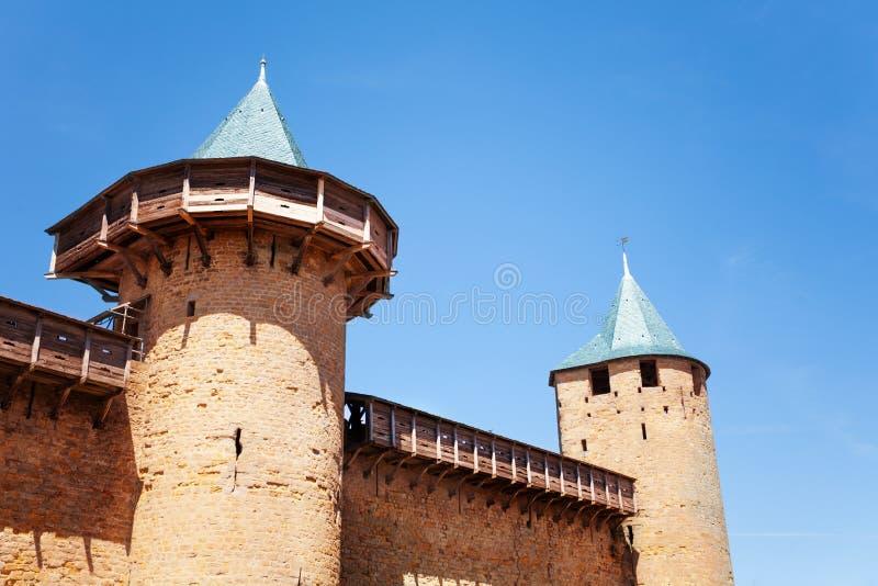 计数的城堡塔在卡尔卡松堡垒的 库存图片