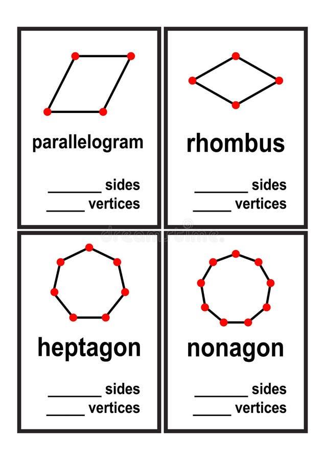 计数边和端点学龄前孩子传染媒介的形状活页练习题 库存例证