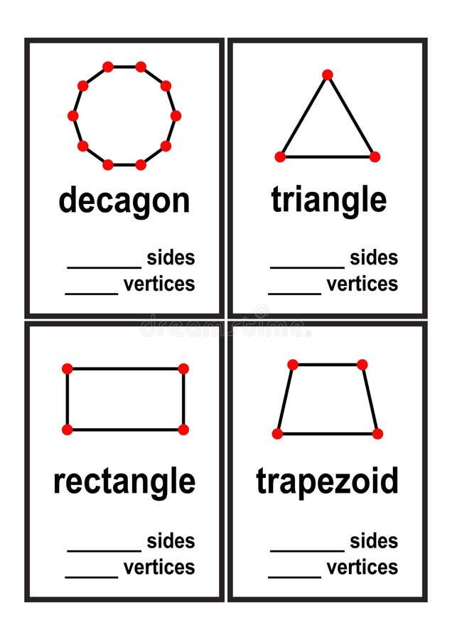 计数边和端点学龄前孩子传染媒介的形状活页练习题 皇族释放例证