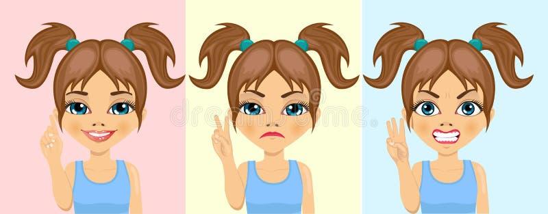 计数从一个的小女孩数字到三与她的用不同的表情的手指 向量例证