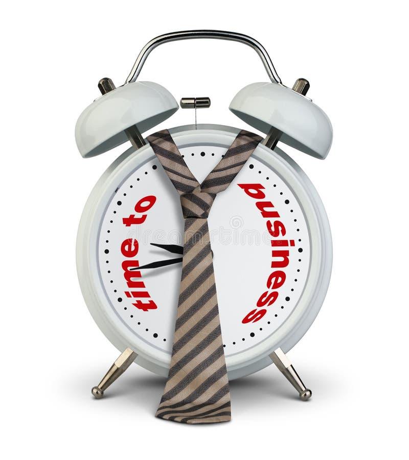 计时与在白色,对交易起步概念的时间的领带 库存例证
