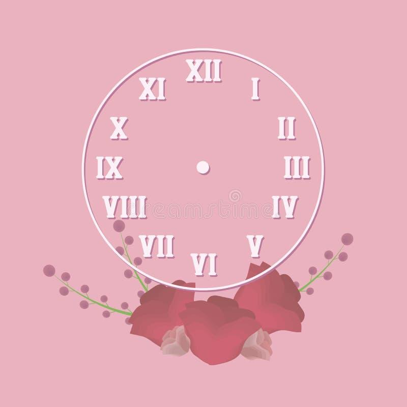 计时在周围与与阴影的减速火箭的罗马数字白色概述在与红色花和tw的构成的浪漫桃红色背景 向量例证