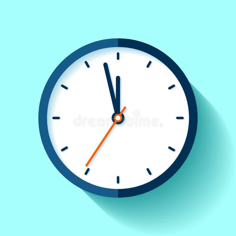 计时在平的样式的象,在蓝色背景的圆的定时器 五分钟到十二 简单的手表 传染媒介您的设计元素busi 皇族释放例证