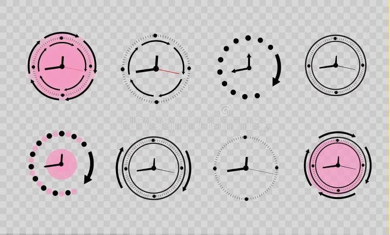 计时在背景在时髦平的样式的象隔绝的 时钟象您的网站设计的页标志 向量 库存例证