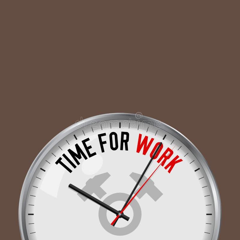 计时工作 有诱导口号的白色传染媒介时钟 有玻璃的模式金属手表 两把横渡的锤子象 向量例证