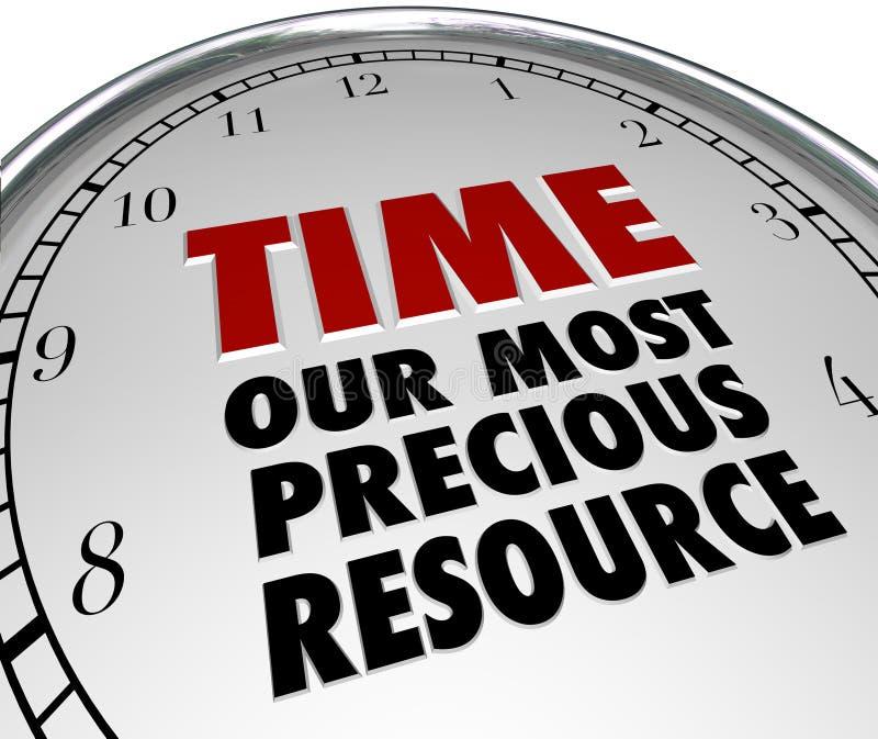 计时我们的生活的最珍贵的资源时钟展示价值 库存例证
