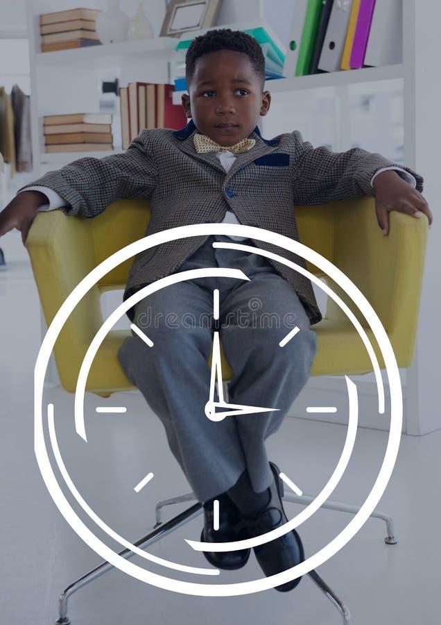 计时象反对办公室孩子男孩坐的背景 库存例证