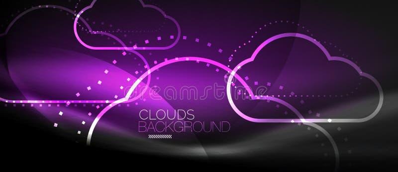 计算传染媒介的云彩,存贮概念 库存例证