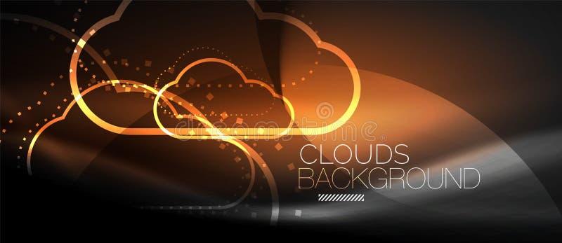 计算传染媒介的云彩,存贮概念 向量例证