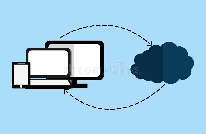 计算和主持设计的云彩 库存例证