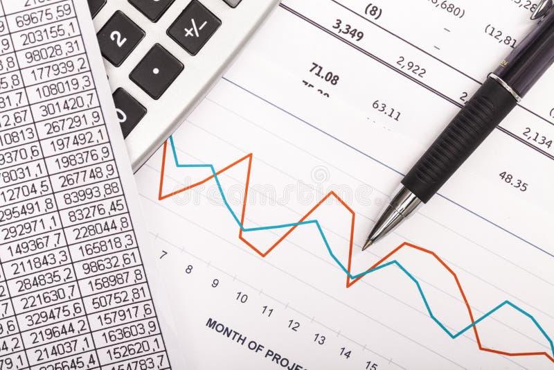 计算器、笔和财政报告 关闭 库存照片