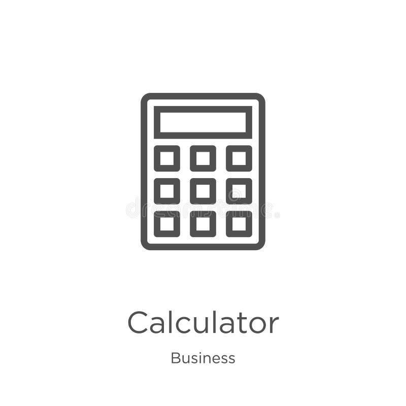 计算器从企业汇集的象传染媒介 稀薄的线计算器概述象传染媒介例证 r 库存例证