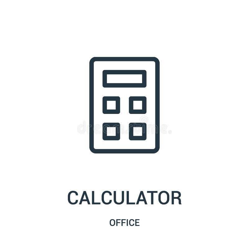 计算器从办公室汇集的象传染媒介 稀薄的线计算器概述象传染媒介例证 皇族释放例证