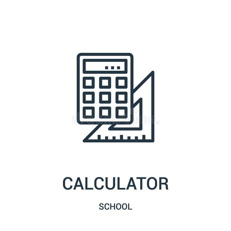 计算器从学校汇集的象传染媒介 稀薄的线计算器概述象传染媒介例证 r 皇族释放例证