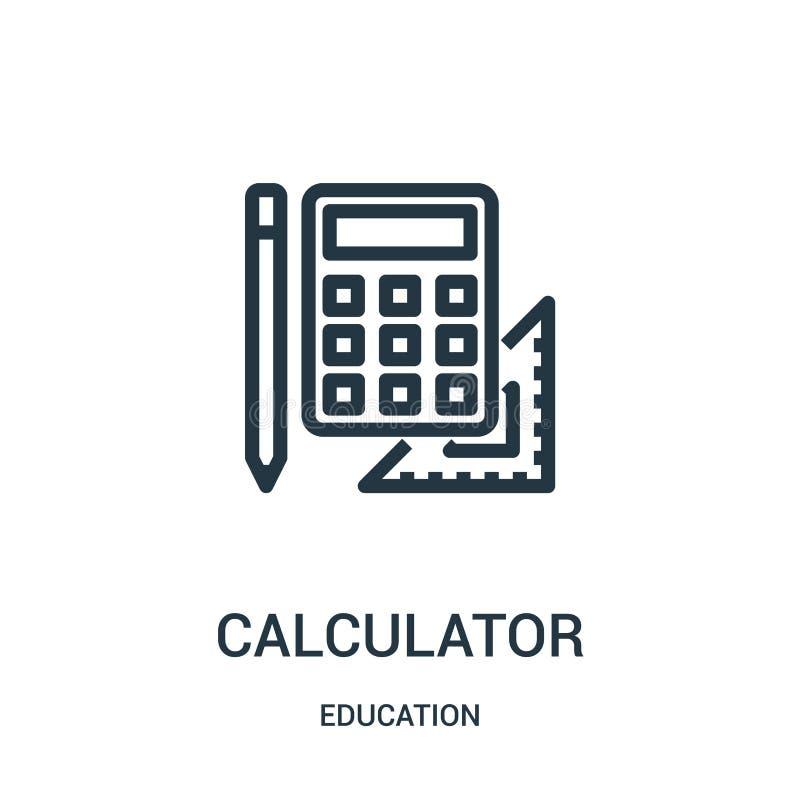 计算器从教育汇集的象传染媒介 稀薄的线计算器概述象传染媒介例证 线性标志为使用 库存例证