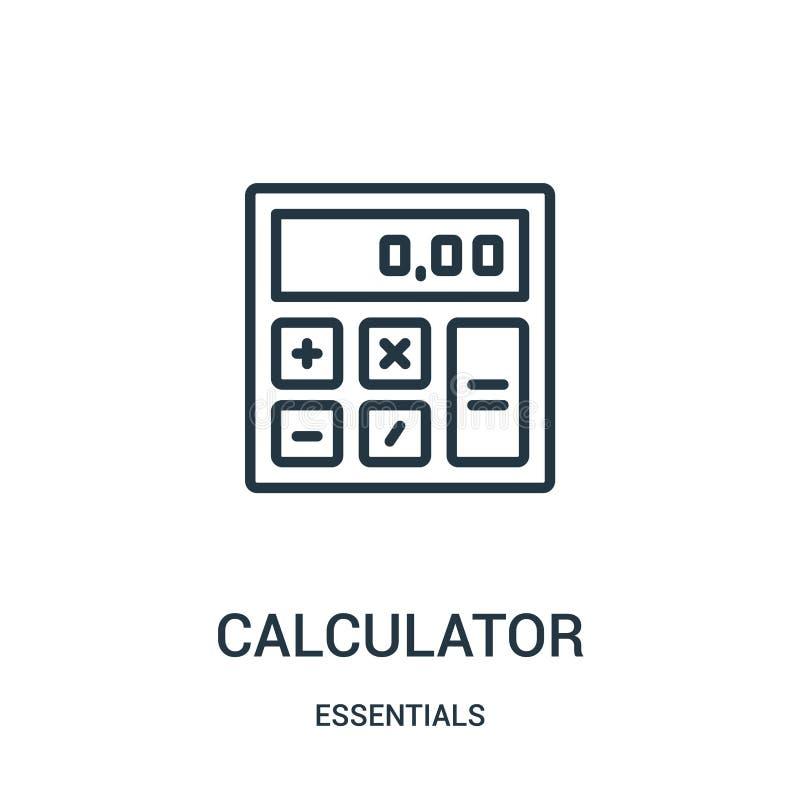 计算器从精华汇集的象传染媒介 稀薄的线计算器概述象传染媒介例证 线性标志为使用 库存例证