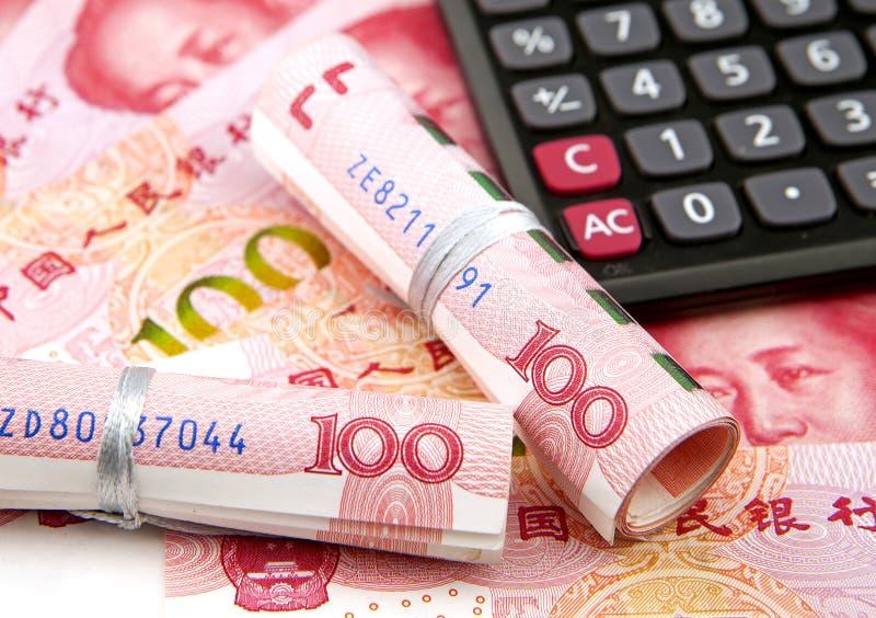 计算器和中国钞票 免版税库存照片