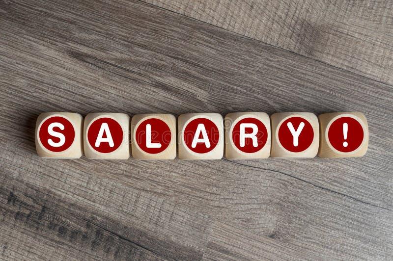 计算器和立方体与期限薪金 免版税库存图片