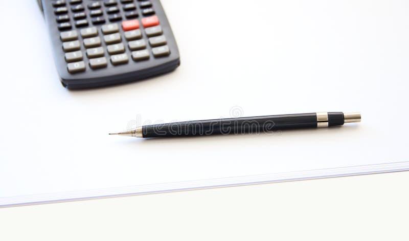 计算器和铅笔 库存图片