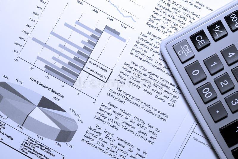 计算器市场报告股票 库存图片