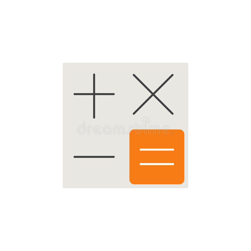 计算器平的象,科目编号 向量例证