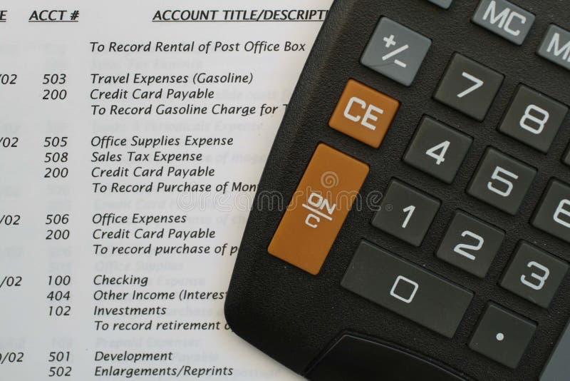 计算器总帐管理系统 免版税库存照片