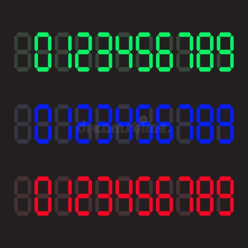 计算器数字式数字 被设置的数字式数字 也corel凹道例证向量 皇族释放例证