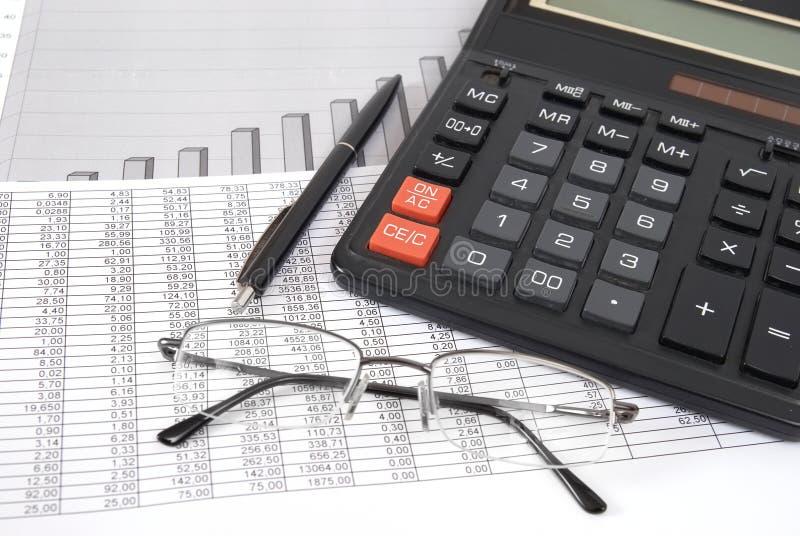 计算器玻璃笔 免版税库存照片