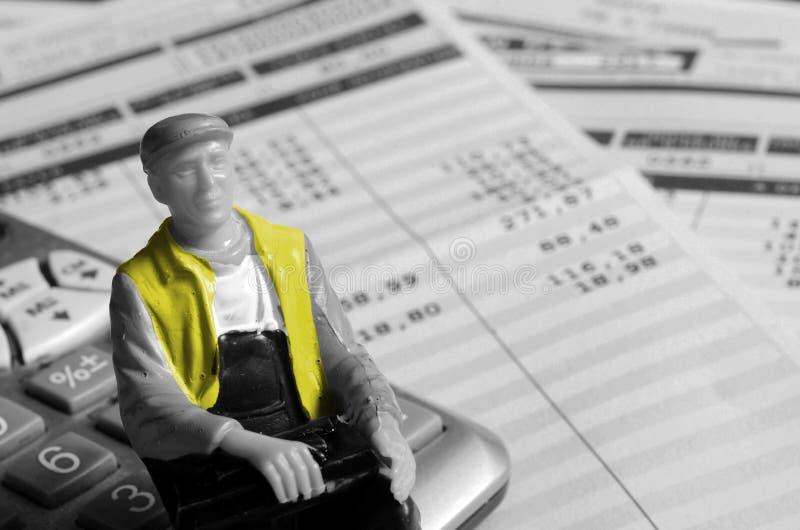 计算器的,法国黄色背心人 免版税库存照片