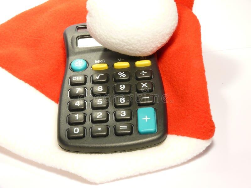 计算器盖帽圣诞老人 免版税库存图片