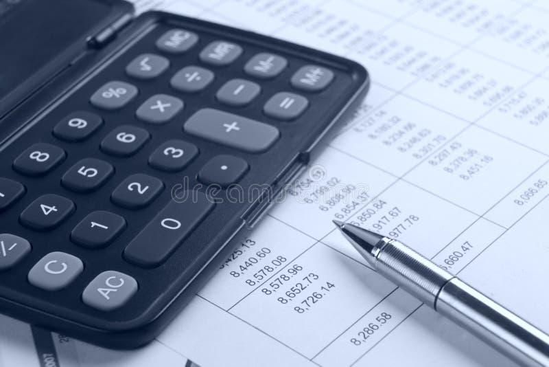 计算器笔报表 免版税库存照片
