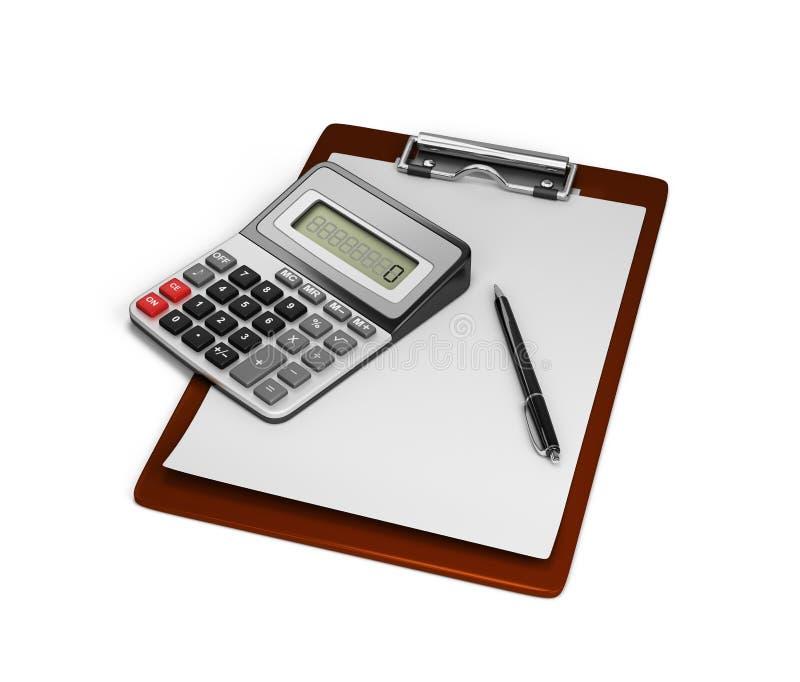 计算器笔记本和笔 皇族释放例证