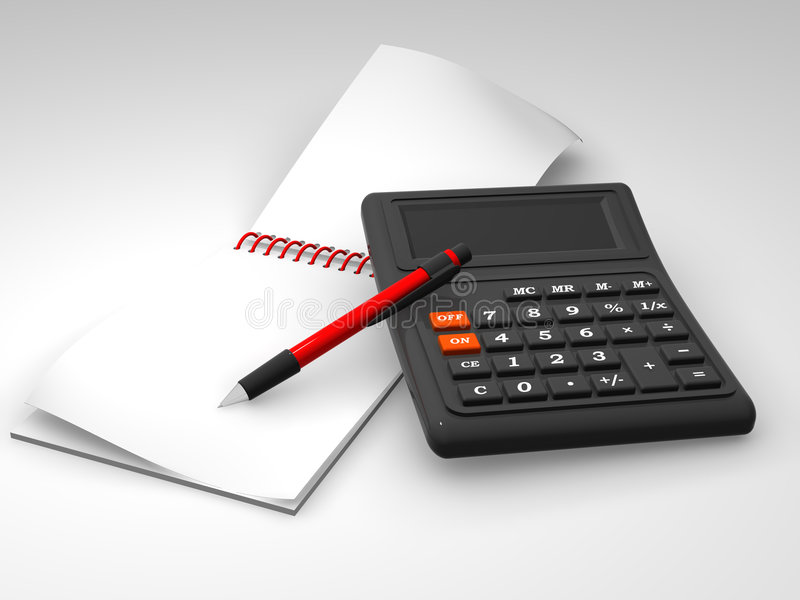计算器笔记本 皇族释放例证