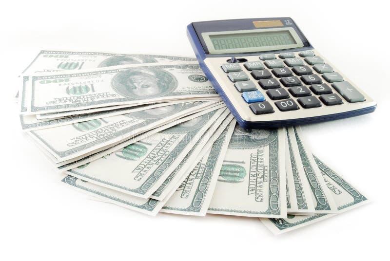 计算器美元堆 免版税库存照片