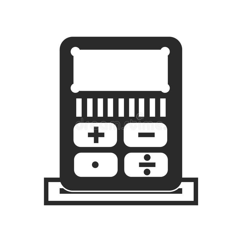 计算器象在白色背景和标志隔绝的传染媒介标志,计算器商标概念 库存例证