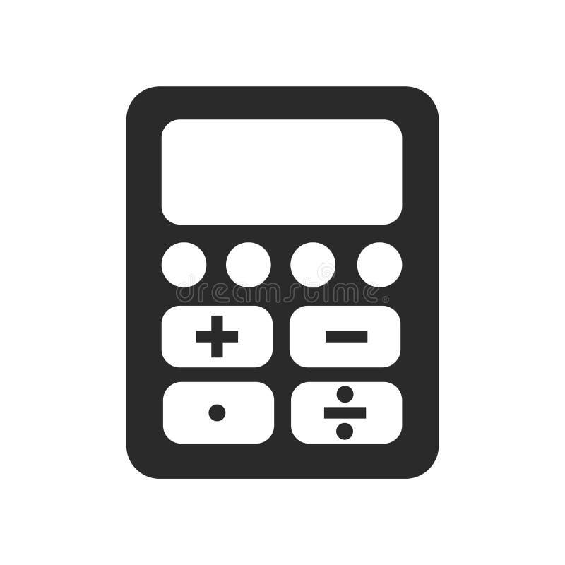 计算器象在白色backgro和标志隔绝的传染媒介标志 库存例证