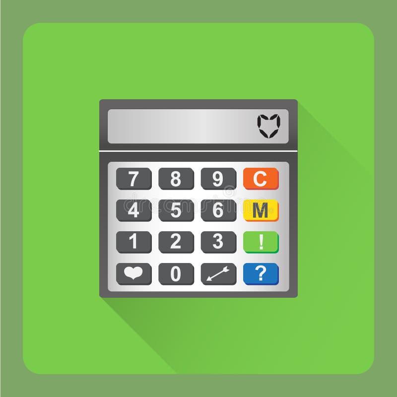 计算器象 关于爱的计算器平的例证 免版税库存图片