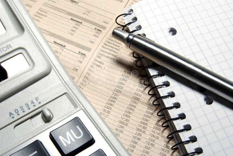 计算器财务笔记本笔钢 库存图片
