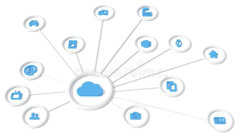 计算圆网络的圆网络云彩 库存例证