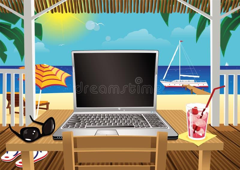 计算在假日海滩小屋 向量例证