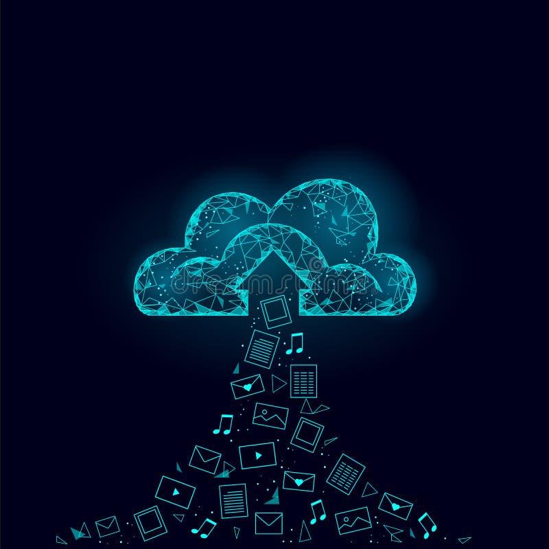 计算在线式存储的云彩低多 多角形未来现代互联网企业技术 蓝色发光的全球性数据 库存例证