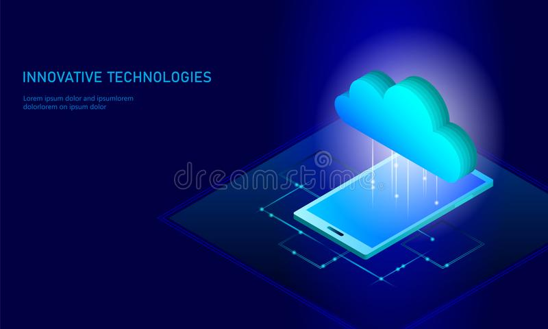 计算在线式存储等量智能手机的云彩 大数据信息未来现代互联网企业技术 皇族释放例证