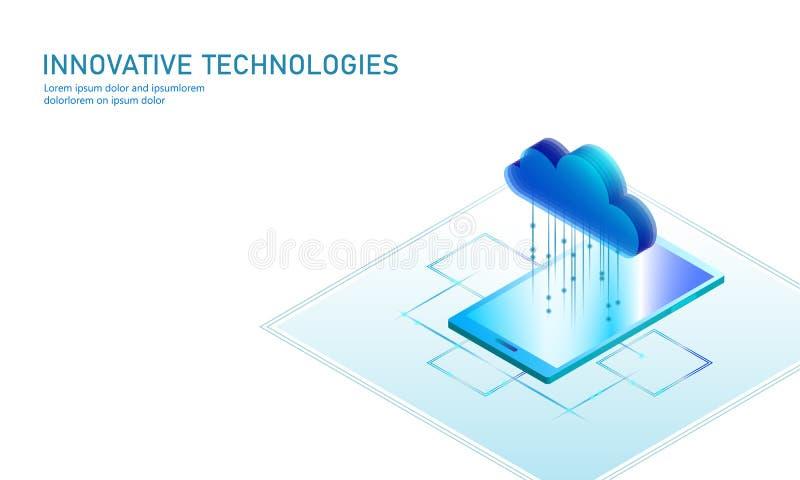 计算在线式存储等量智能手机的云彩 大数据信息未来现代互联网企业技术 向量例证