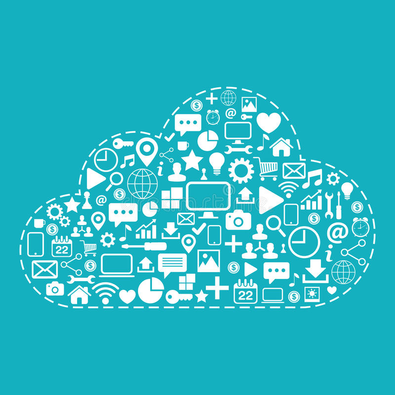 2010计算微软smau的云彩 网象在蓝色背景传染媒介例证设置了 库存例证